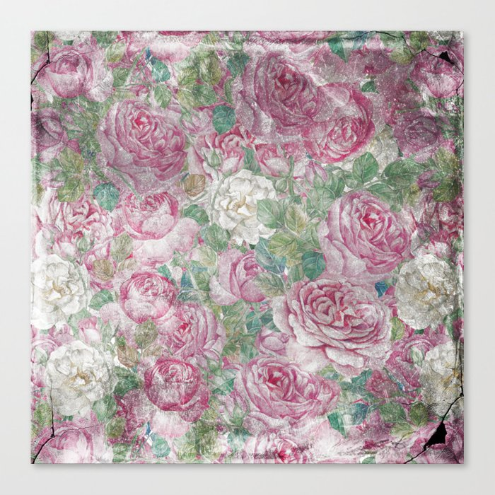 Vintage & Shabby-chic - floral roses flowers rose flower Canvas Print