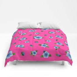 Sweet Blue Roses - fuchsia Comforters