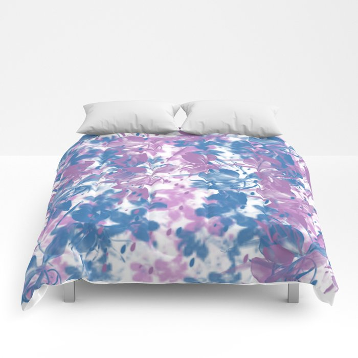 Elegant Painterly Floral Abstract Comforters
