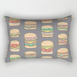 Hamburgers Junk Food Fast food on Dark Grey Rectangular Pillow