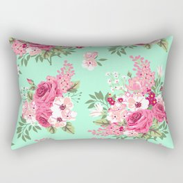 Cottage Chic Roses and Lilacs Floral in Aqua and Pink Rectangular Pillow