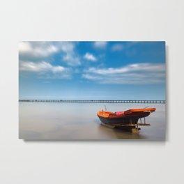 Boat in the sea Metal Print