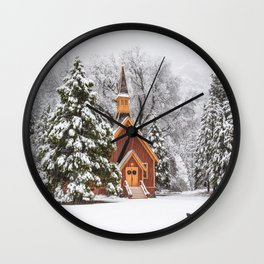 Yosemite Chapel In Snow Wall Clock