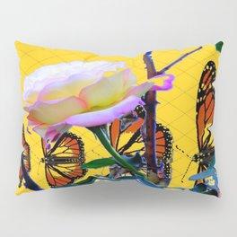 MONARCH BUTTERFLIES & ROSE ABSTRACT Pillow Sham