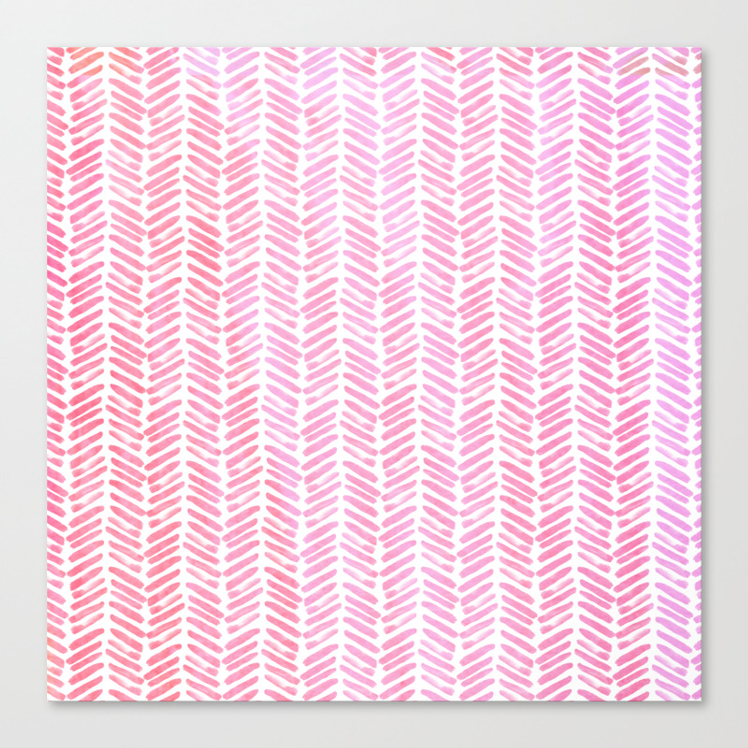 Handpainted Chevron Pattern Small Pink Watercolor On White Canvas Print By Simplicity Of Live Society6