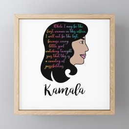 Kamala Harris Victory Speech Female VP Framed Mini Art Print