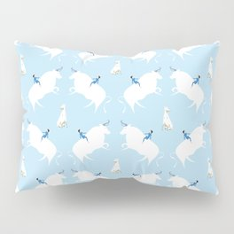 The Boy, the bull and the dog, blue Pillow Sham