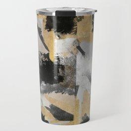 Gold leaf black, geometrical abstract Travel Mug