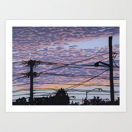 Telephone Poles at Sunset 1 Art Print