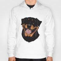 rottweiler Hoodies featuring Rottweiler by Mickeyila Studios