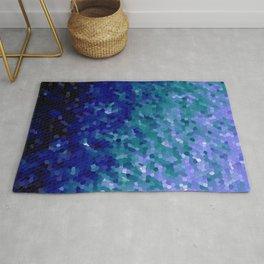 Deep Blue Ocean Mosaic Tile Rug