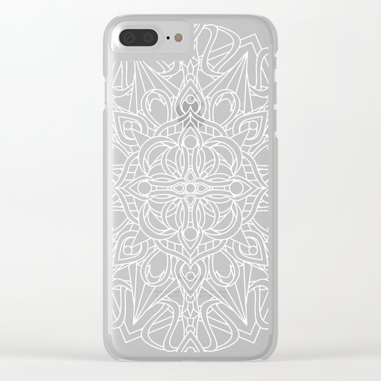 White Mandala on Grey Linen Clear iPhone Case