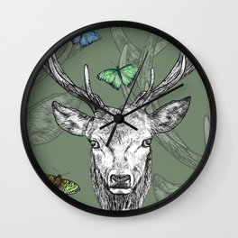 Scottish Stag, butterflies, pen and ink illustration, moss green Wall Clock