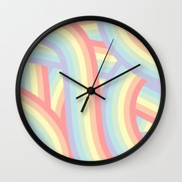 Soft Pastel Rainbow Stripes Pattern Wall Clock