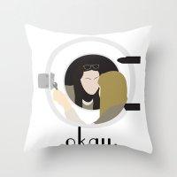 okay Throw Pillows featuring Okay. by Zharaoh