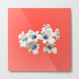 Blue Heart Lilies on Living Coral Metal Print