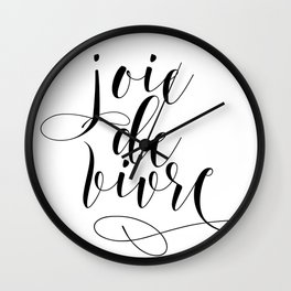 JOIE DE VIVRE, French Quote, French Poster, Inspirational Quote,Typography Print Wall Clock