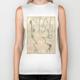 Vintage Map of Lake Champlain (1874) Biker Tank