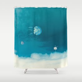 Time Rabbit and jellyfish Shower Curtain
