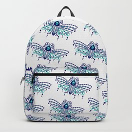 Death's Head Hawkmoth – Navy & Turquoise Palette Backpack