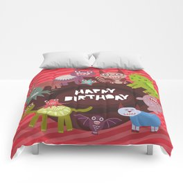 Happy birthday Funny monsters card Comforters