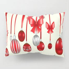 DECORATIVE RED CHRISTMAS ORNAMENTS &  HOLLY BERRIES  ART Pillow Sham