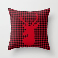 Red Plaid Deer Stag Design Throw Pillow
