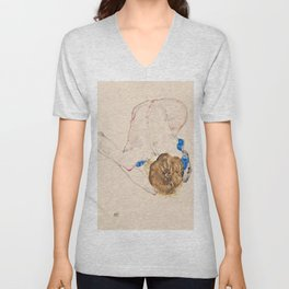 Egon Schiele - Nude with Blue Stockings, Bending Forward Unisex V-Neck