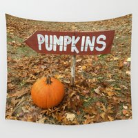 pumpkin Wall Tapestries featuring Pumpkin Sign by redcoatstudiocolor