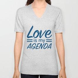LOVE IS MY AGENDA blue Unisex V-Neck