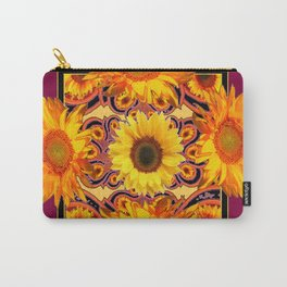 Ornate Burgundy Purple  Gold Sunflowers Art Carry-All Pouch