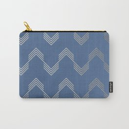Simply Deconstructed Chevron White Gold Sands  on Aegean Blue Carry-All Pouch