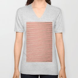 Abstract Stripes Gold Coral Pink Unisex V-Neck