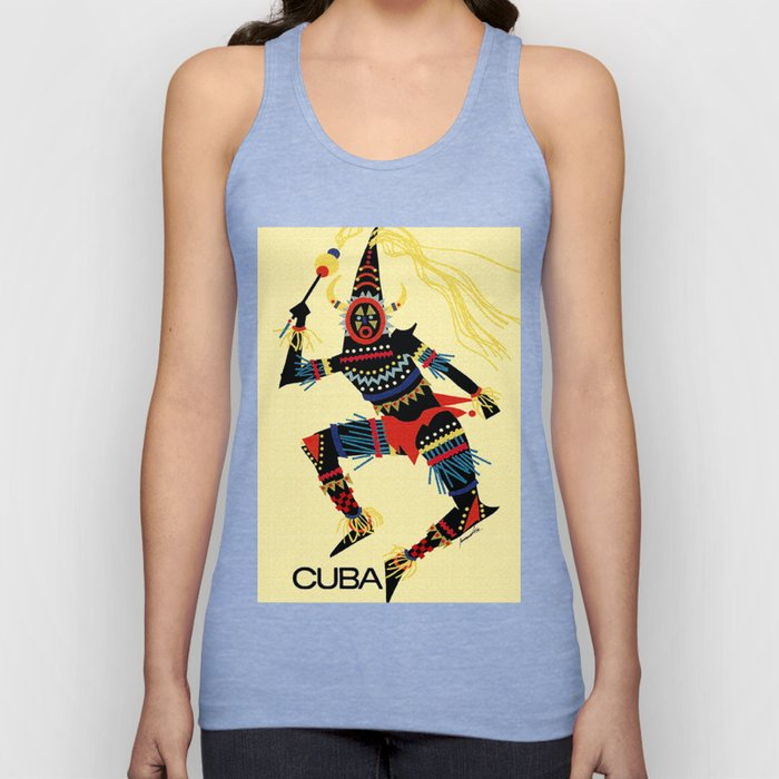 Vintage Cuba Costumed Dancer Travel Unisex Tank Top