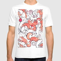 Fox Pattern Mens Fitted Tee MEDIUM White