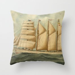 Vintage Illustration of a Large Sailing Yacht (1919) Throw Pillow