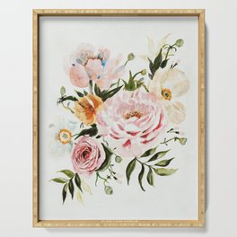 Loose Peonies & Poppies Floral Bouquet Serving Tray