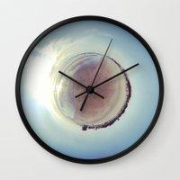 israel Wall Clocks featuring Around Haifa Beach Panorama Israel by Camille Gilbert