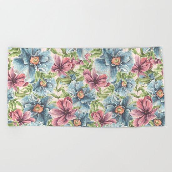 Hibiscus Vintage Pattern Beach Towel