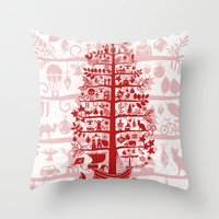 blankets Throw Pillows featuring CHRISTMAS TREE red ITINERANT by Chicca Besso
