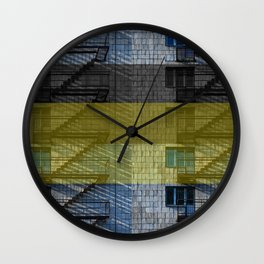 Facade with fire stairs Wall Clock