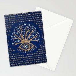 Greek Eye Tree - Mati Mataki - Matiasma Gold and blue Stationery Cards