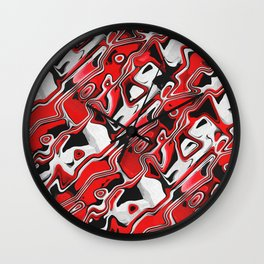 Red, White And Black Abstract Wall Clock