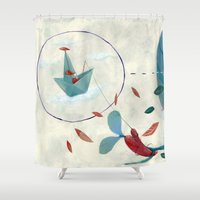 voyage Shower Curtains featuring voyage by flaviasorr