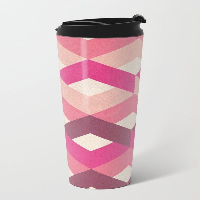 Pink Fancy Pattern Metal Travel Mug