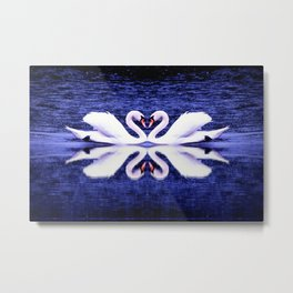 Swans in Love-dark blue Metal Print