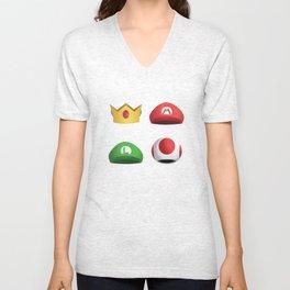 Super Mario Character Hats - White Unisex V-Neck