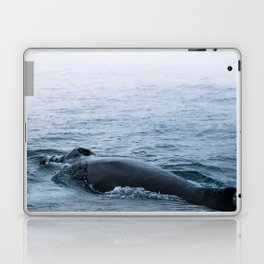 Humpback whale in the minimalist fog - photographing animals Laptop & iPad Skin