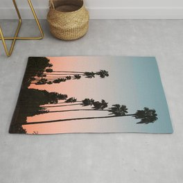 California Sunset // Palm Tree Silhouette Street View Orange and Blue Color Sky Beach Photography Rug