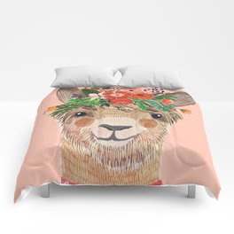 Llama with Flower Crown by Mia Charro Comforters